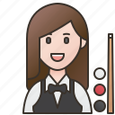 billiards, player, pool, snooker, women
