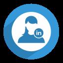 female, linked in, linkedin, network, professional, social, women icon