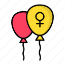 feminism, female, power, woman, sign, balloons