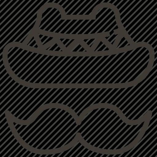 hat, man, mustache icon