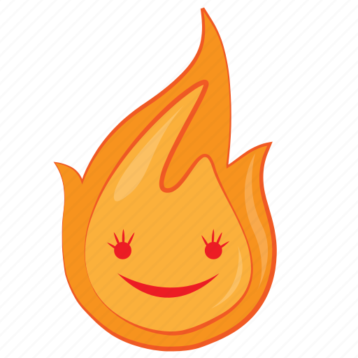 character, cute, fire, flame, hot, love, newyear icon