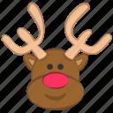 christmas, cute, reindeer, rudolf icon