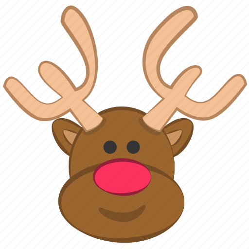christmas, cute, reindeer, rudolf icon