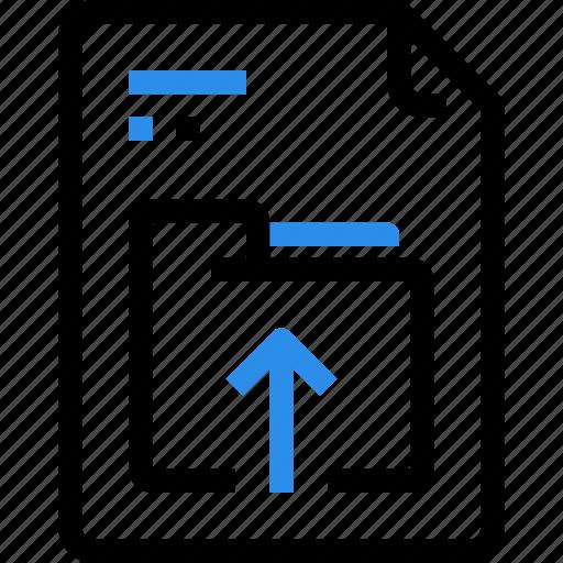 arrow, document, file, file type, folder, format, up, upload icon