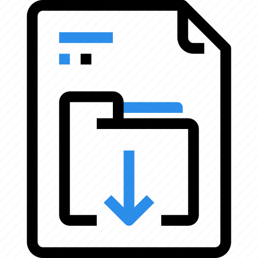 arrow, document, down, download, file, file type, folder, format icon