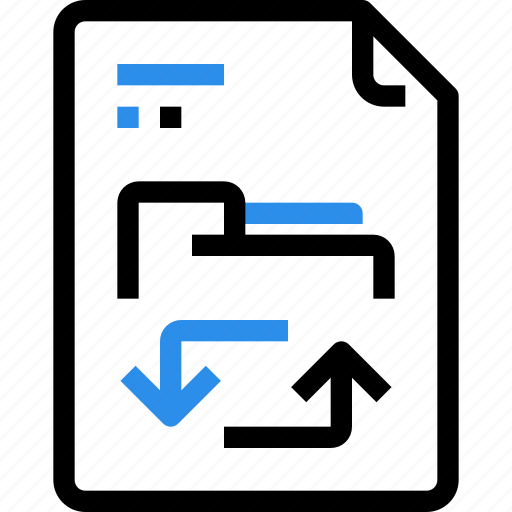 arrow, document, exchange, file, file type, folder, format, management icon