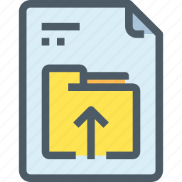 arrow, document, file, folder, paper, upload icon