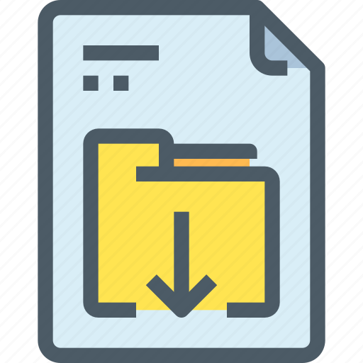 arrow, document, download, file, folder, paper icon