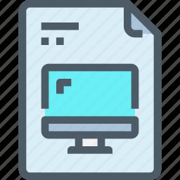 computer, digital, document, file, paper icon