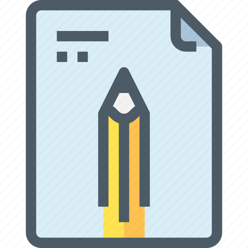 document, file, learn, learning, paper, pencil, school icon