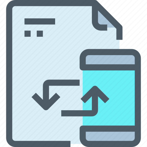 document, file, mobile, paper, smartphone, sync icon