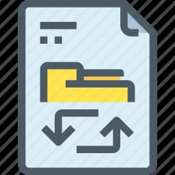 arrow, document, exchange, file, paper icon