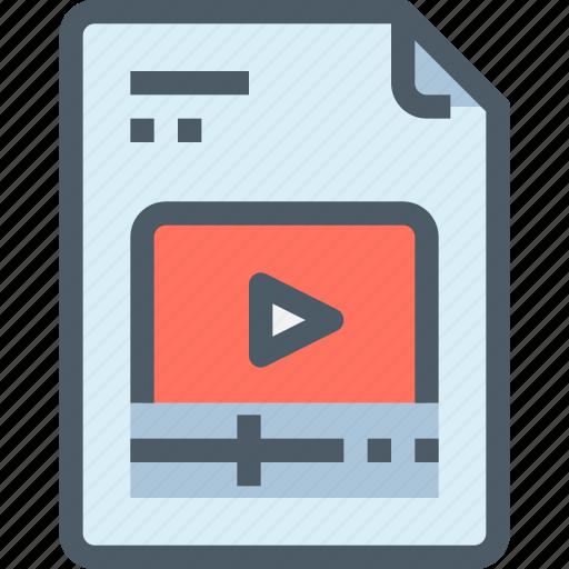 document, file, media, movie, paper, video icon