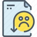 document, face, file, paper, rating, sad icon