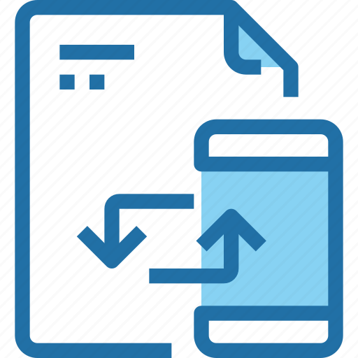 document, exchange, file, mobile, paper, smartphone, sync icon