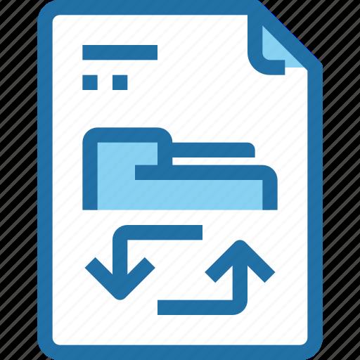 arrow, document, exchange, file, folder, paper icon