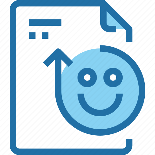 document, emotion, face, file, happy, paper, rating icon
