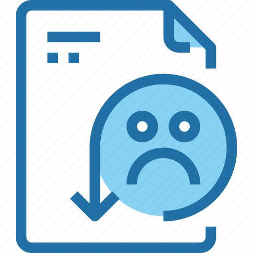document, emotion, face, file, paper, rating, sad icon