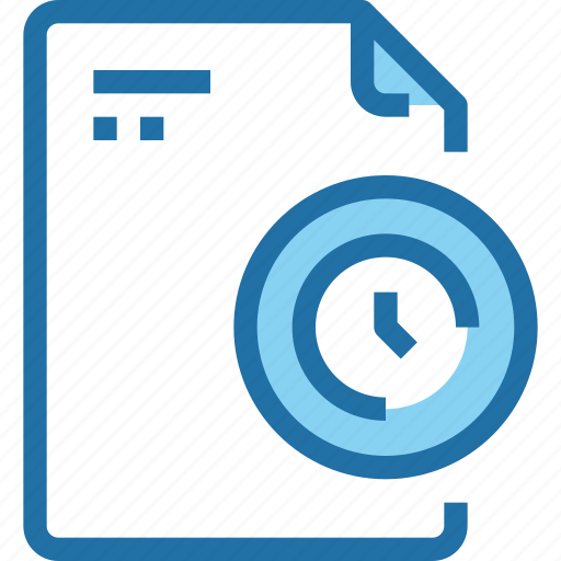 document, file, paper, time, timer icon