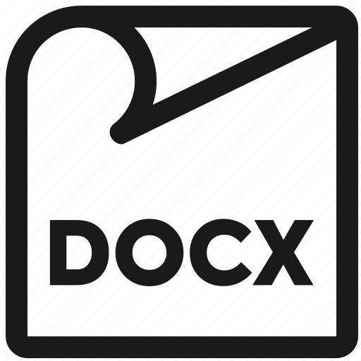 docx, file extension, line, microsoft, monoline, windows icon