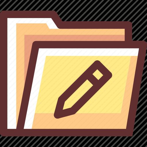 edit, folder, pencil, seni icon
