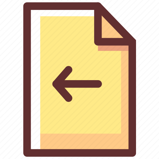 arrow, direction, file, paper, type icon