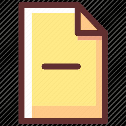 delete, document, file, format, less, minus, remove icon