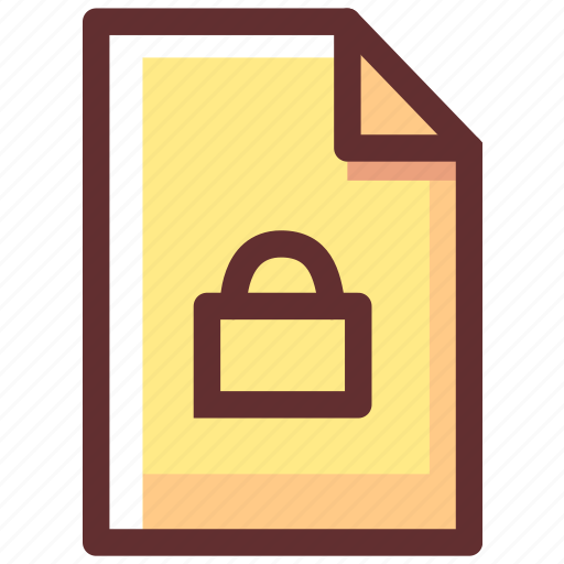 Locked, secure, protection, safety, file, security, shield icon