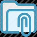 archive, attachment, clip, document, folder, paperclip icon