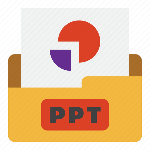 color, extension, file type, format, graph file, ppt, presentation file icon