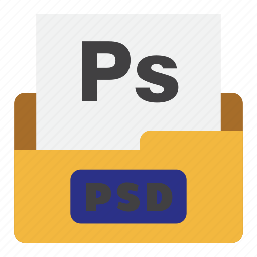 document, extension, file type, flat color, psd, psd file, raster file icon