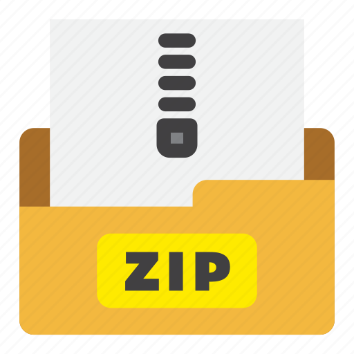 archive file, color, file type, filled outline, flat color, zip, zip file icon