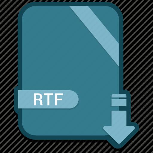 document, extension, file, folder, format, paper, rtf icon