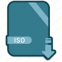document, extension, file, folder, format, iso, paper icon