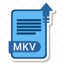 document, extension, folder, mkv, paper icon