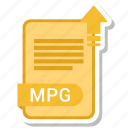 document, extension, folder, mpg, paper icon