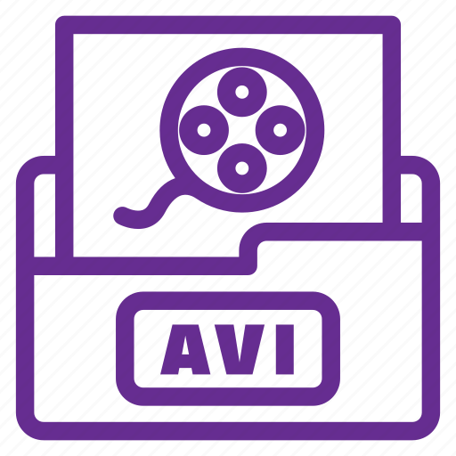 avi, filetype, filled outline, flat color, movie file, play, player icon