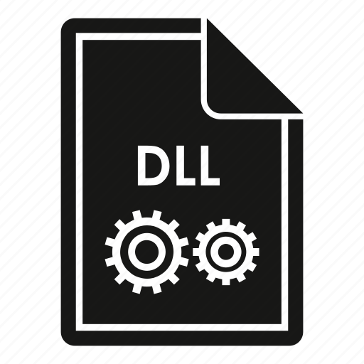 computer, concept, dll, extension, file, format, text icon