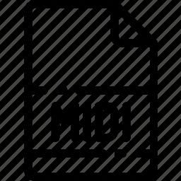 extension, file, format, midi, type icon