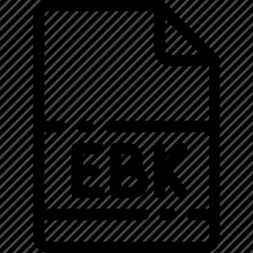 ebk, extension, file, format, type icon