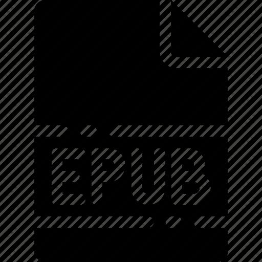 epub, extension, file, format, name, type icon