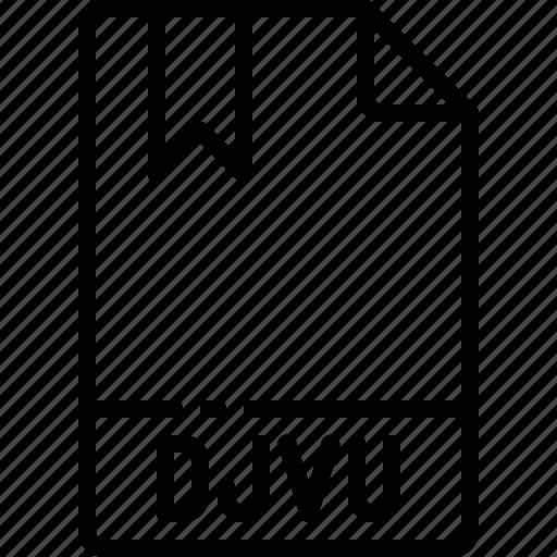 djvu, extension, file, format, name, type icon