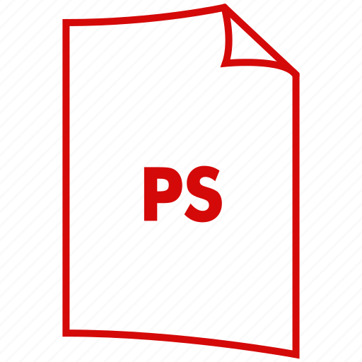 extension, file format, pdf, postscript, ps icon