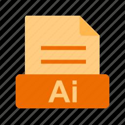 ai file, extension, file, file format icon
