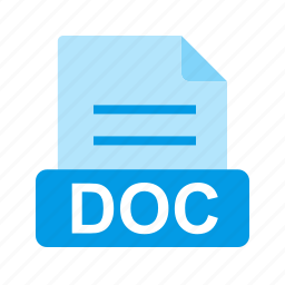 doc, document, extension, file, file format icon