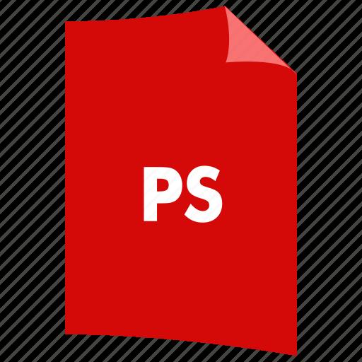data format, extension, file format, filetype, postscript, ps icon