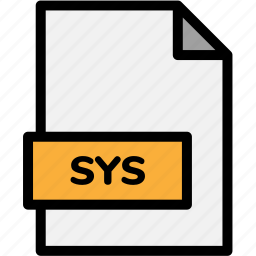 extension, file, file format, file formats, format, sys, type icon