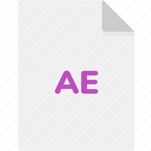 ae, extension, file, file format, file formats, format, type icon