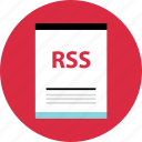 document, file, name, page, rss, type icon