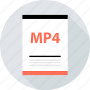 document, file, mp4, page, type icon